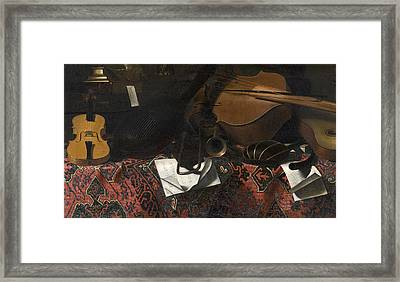 Still Life With Musical Instruments Framed Print by Celestial Images
