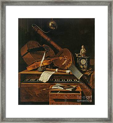 Still Life With Musical Instruments Framed Print by Pieter Gerritsz van Roestraten