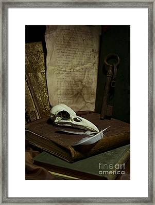Still Life With Old Books Rusty Key Bird Skull And Feathers Framed Print by Jaroslaw Blaminsky