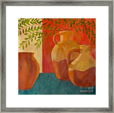 Still Life With Olive Branches I Framed Print