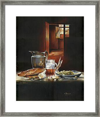 Still Life With Olives And Fish Framed Print by Victor Mordasov