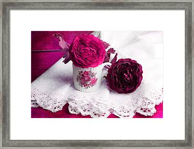 Still Life With Paper Flowers Framed Print by Angela Bruno