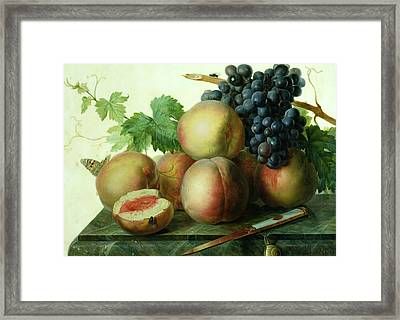 Still Life With Peaches And Grapes On Marble Framed Print