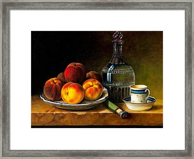 Still Life With Peaches Framed Print by Bernadette Harrison