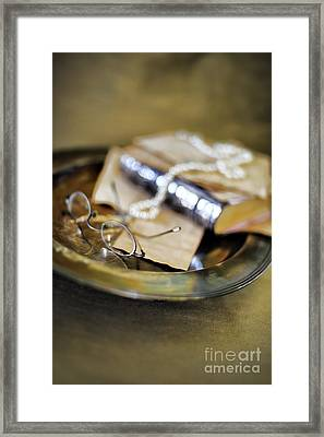 Still Life With Pearls And Glasses Framed Print by HD Connelly