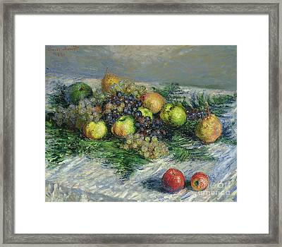Still Life With Pears And Grapes Framed Print