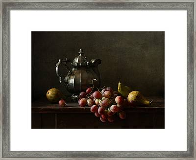 Still Life With Pewter Teapot And Grapes And Pears  Framed Print by Diana Amelina