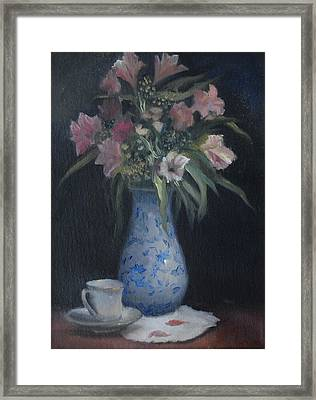 Still Life With Pink Flowers Framed Print