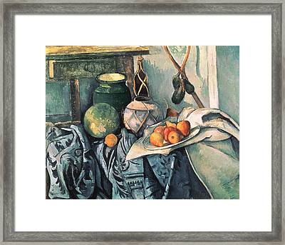 Still Life With Pitcher And Aubergines Oil On Canvas Framed Print by Paul Cezanne