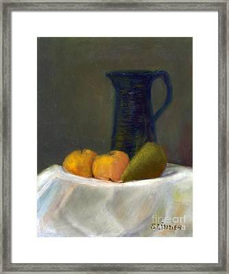 Still Life With Pitcher And Fruit Framed Print by Sandy Linden