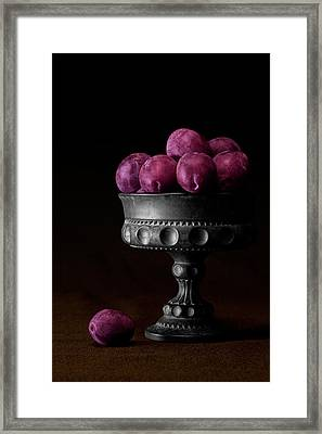 Still Life With Plums Framed Print by Tom Mc Nemar