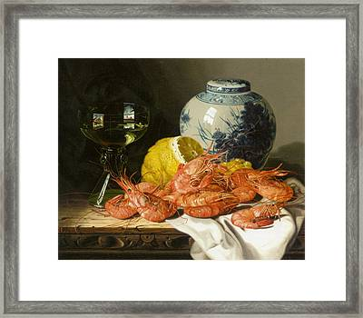 Still Life With Prawns And Lemon Framed Print by Edward Ladell