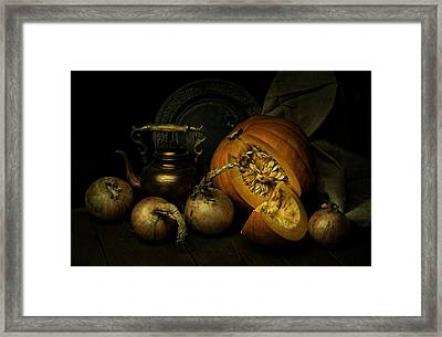 Still Life With Pumpkin And Onions Framed Print