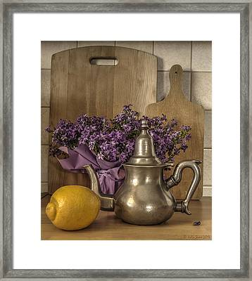Still Life With Purple Flowers And Citron Framed Print