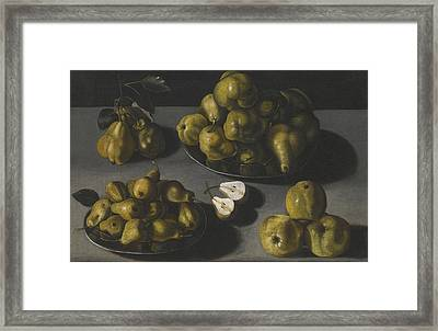 Still Life With Quinces And Pears Arranged On A Stone Table Top Framed Print by Celestial Images