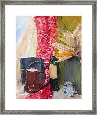 Still Life With Red Cloth And Pottery Framed Print