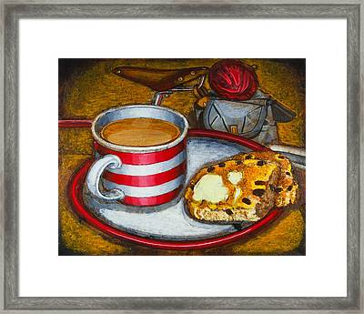 Framed Print featuring the painting Still Life With Red Touring Bike by Mark Howard Jones