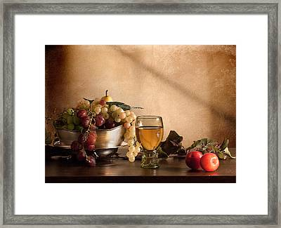Still Life With Roemer-grapes And Red Plums Framed Print