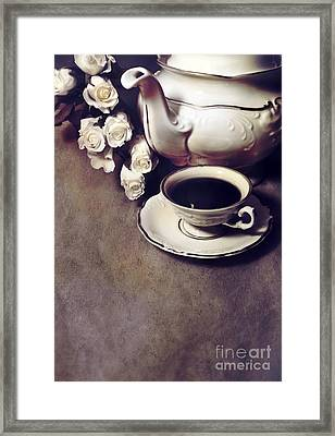Still Life With Roses And Coffee Set Framed Print by Jaroslaw Blaminsky