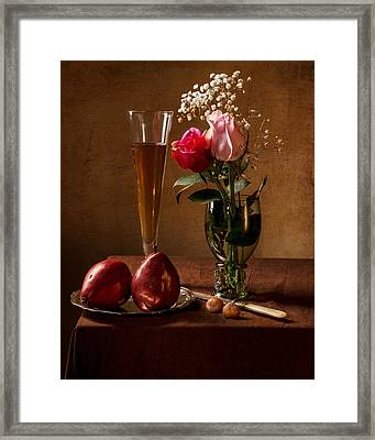 Still Life With Roses In Small Roemer And Two Red Pears Framed Print