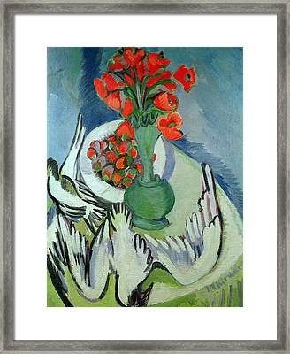 Still Life With Seagulls Poppies And Strawberries Framed Print