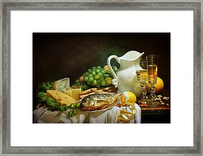 Still-life With Smoked Fish And Cream Cheese Both Fresh Fruit And Fragrant White Wine Framed Print by Marina Volodko