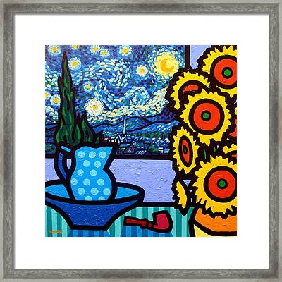 Still Life With Starry Night Framed Print