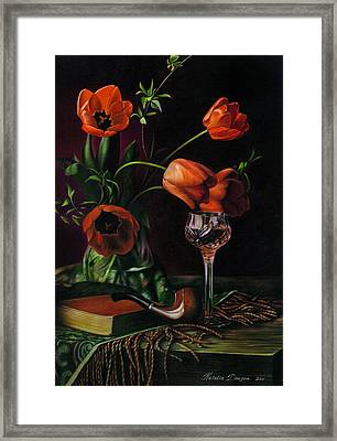 Still Life With Tulips - Drawing Framed Print by Natasha Denger