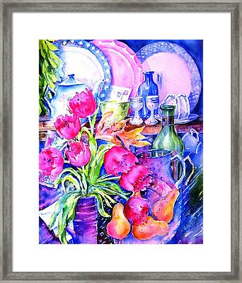 Still Life With Tulips  Framed Print by Trudi Doyle