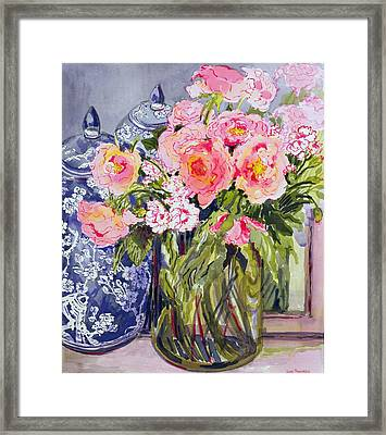 Still Life With Two Blue Ginger Jars Framed Print by Joan Thewsey