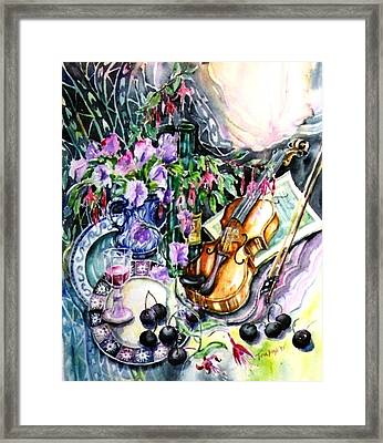 Still Life With Violin And Cherries Framed Print by Trudi Doyle