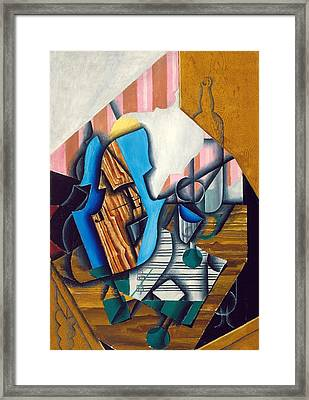 Still Life With Violin And Music Sheet, 1914 Oil On Paper Colle On Canvas Framed Print