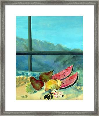 Still Life With Watermelon Oil & Acrylic On Canvas Framed Print by Marisa Leon