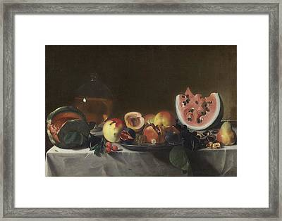 Still Life With Watermelons And Carafe Of White Wine Framed Print