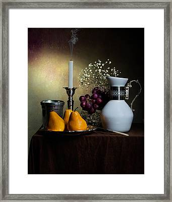 Still Life With White Jar-yellow Pears-snuffed Candle And Goblet Framed Print