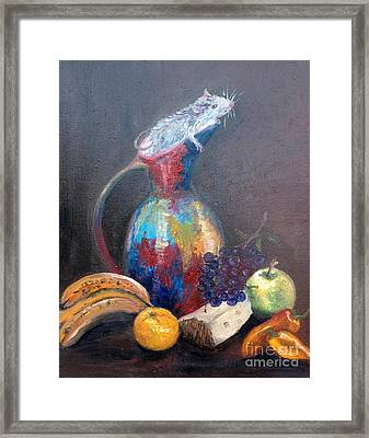 Still Life With White Mouse Framed Print by Irene Pomirchy