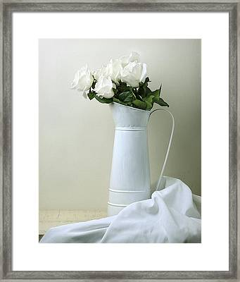 Framed Print featuring the photograph Still Life With White Roses by Krasimir Tolev