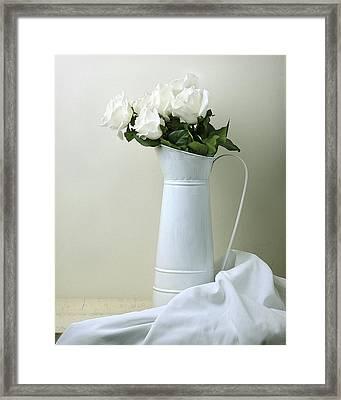 Still Life With White Roses Framed Print