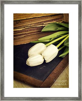 Still Life With White Tulips Old Books School Slate Framed Print by Edward Fielding