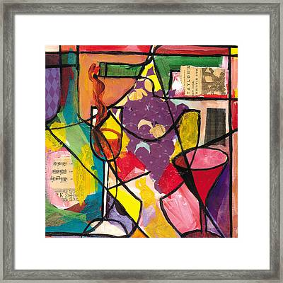 Still Life With Wine And Fruit B Framed Print