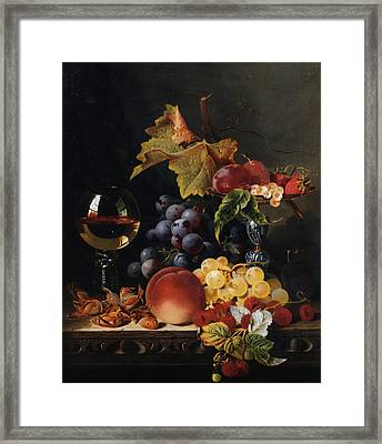 Still Life With Wine Glass And Silver Tazz Framed Print by Edward Ladell