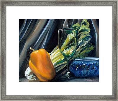 Still Life With Yellow Pepper Bok Choy Glass And Dish Framed Print by Donna Tuten