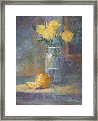 Still Life. Yellow Roses Framed Print