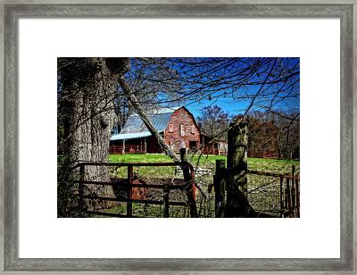 Still Useful Rustic Red Barn Art Oconee County Framed Print by Reid Callaway