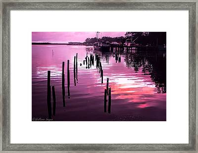 Framed Print featuring the photograph Still Water Dusk 2 by Wallaroo Images