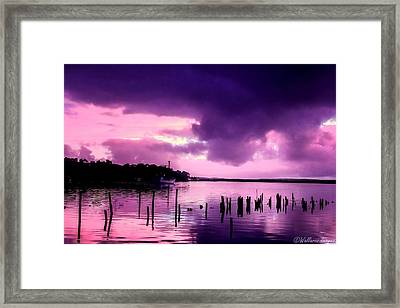 Framed Print featuring the photograph Still Water Dusk by Wallaroo Images