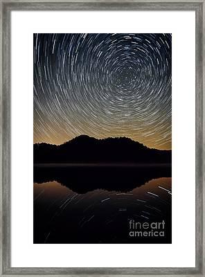 Still Water Star Trails Framed Print by Anthony Heflin