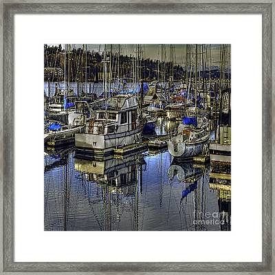 Framed Print featuring the photograph Still Water Masts by Jean OKeeffe Macro Abundance Art