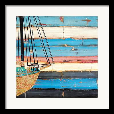 Maine Beach Mixed Media Framed Prints