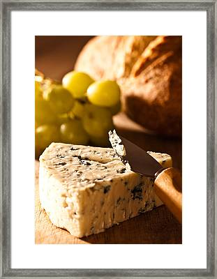Stilton Cheese With Grapes Framed Print by Amanda Elwell